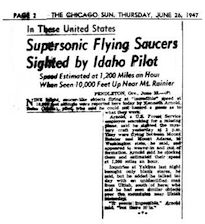 Kenneth Arnold UFO Report