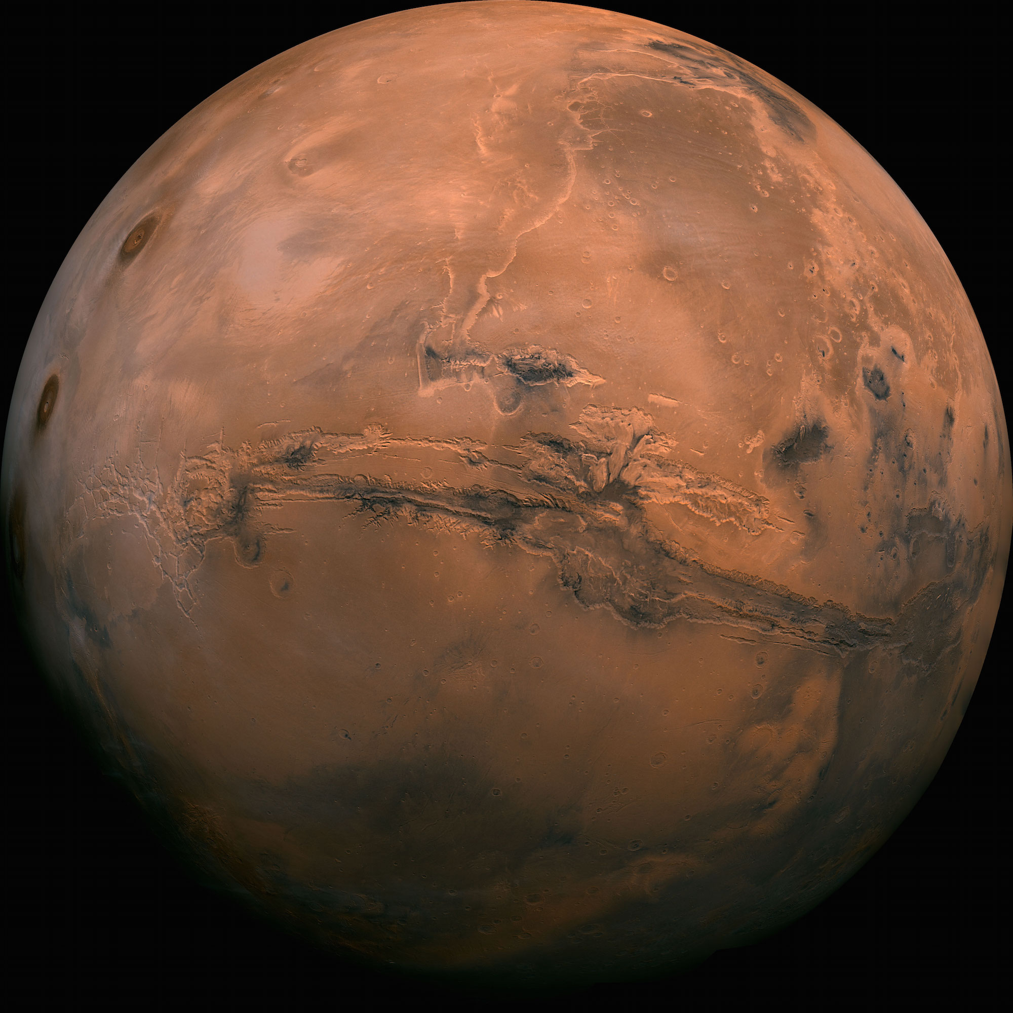 Global view of Mars centered on Elysium Mons   The