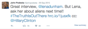 Podesta tweets about aliens